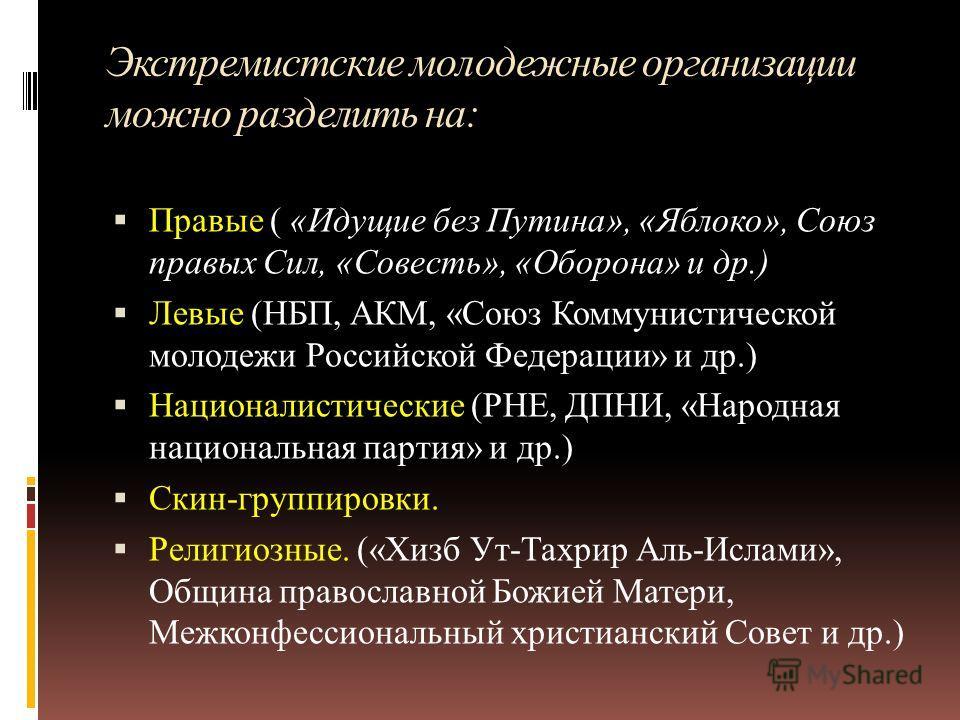 Экстремистские молодежные организации можно разделить на: Правые ( «Идущие без Путина», «Яблоко», Союз правых Сил, «Совесть», «Оборона» и др.) Левые (НБП, АКМ, «Союз Коммунистической молодежи Российской Федерации» и др.) Националистические (РНЕ, ДПНИ