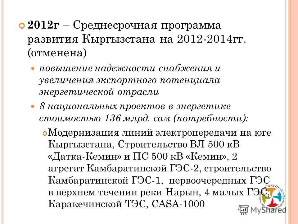 2012г – Среднесрочная программа развития Кыргызстана на 2012-2014гг. (отменена) повышение надежности снабжения и увеличения экспортного потенциала энергетической отрасли 8 национальных проектов в энергетике стоимостью 136 млрд. сом (потребности): Мод