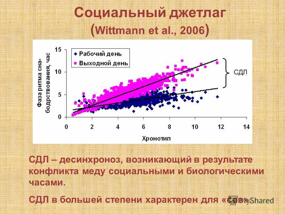 Социальный джетлаг ( Wittmann et al., 2006 ) СДЛ – десинхроноз, возникающий в результате конфликта меду социальными и биологическими часами. СДЛ в большей степени характерен для «сов». СДЛ