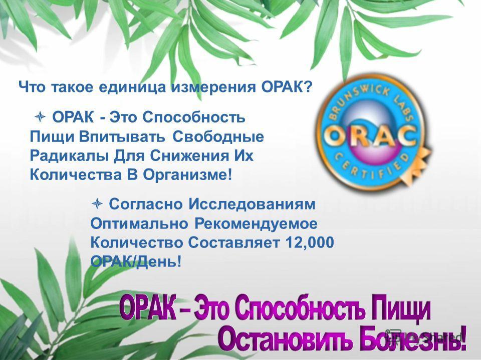Полноценным Инструментом Для Измерении Пользы Фруктов, Овощей И Других Антиоксидантных Продуктов Считается Система Измерения ORAC (ОРАК) Oxygen Radical Absorbance Capacity - Мера Позволяющая Оценить Способность Поглащения Свободных Радикалов!