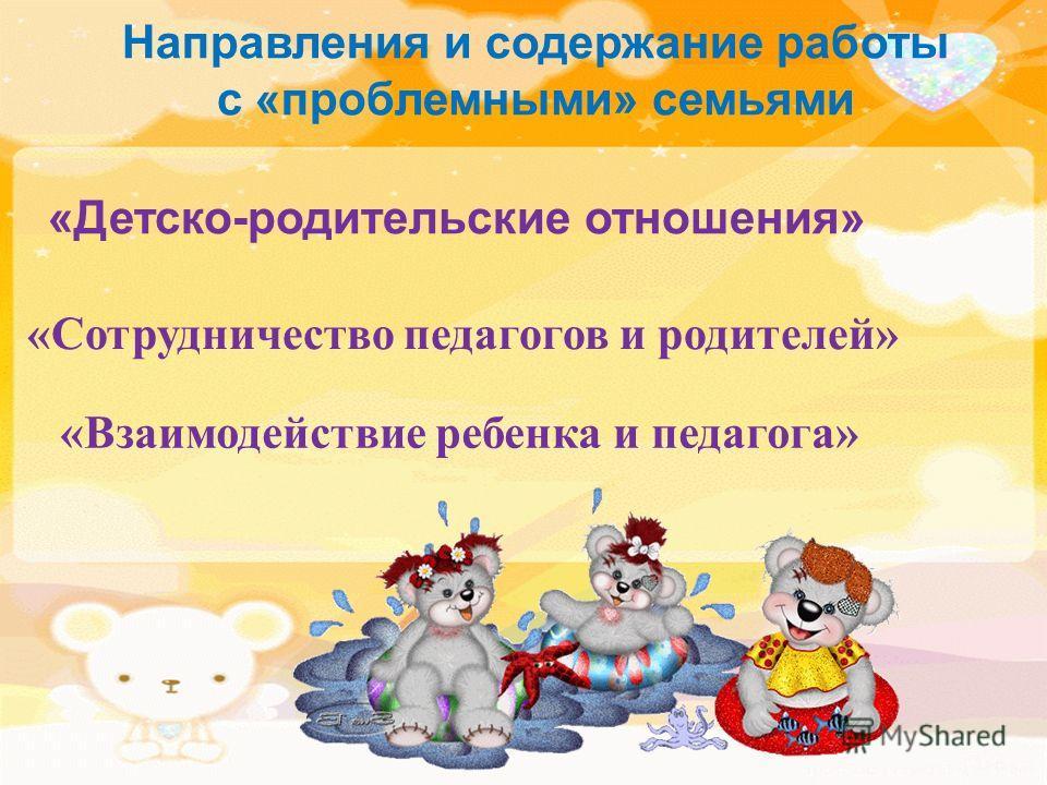 Направления и содержание работы с «проблемными» семьями «Детско-родительские отношения» «Сотрудничество педагогов и родителей» «Взаимодействие ребенка и педагога»