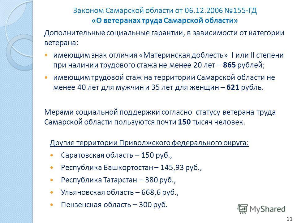 Законом Самарской области от 06.12.2006 155-ГД «О ветеранах труда Самарской области» Дополнительные социальные гарантии, в зависимости от категории ветерана: имеющим знак отличия «Материнская доблесть» I или II степени при наличии трудового стажа не