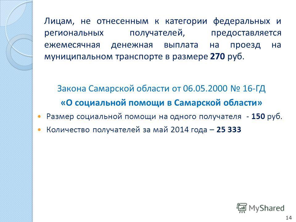 Лицам, не отнесенным к категории федеральных и региональных получателей, предоставляется ежемесячная денежная выплата на проезд на муниципальном транспорте в размере 270 руб. 14 Закона Самарской области от 06.05.2000 16-ГД «О социальной помощи в Сама
