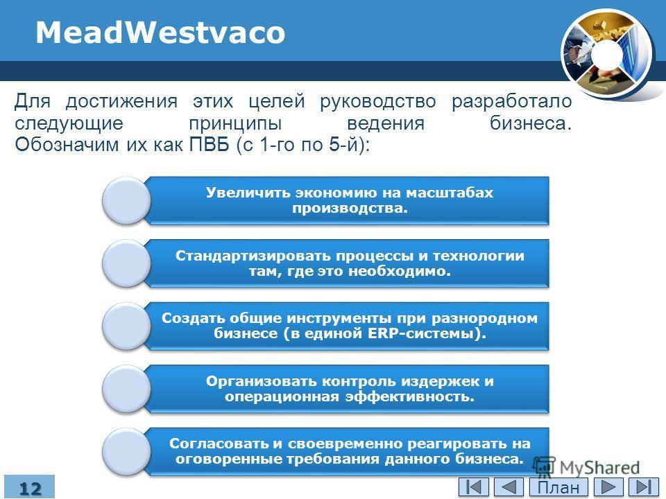 MeadWestvaco Для достижения этих целей руководство разработало следующие принципы ведения бизнеса. Обозначим их как ПВБ (с 1-го по 5-й): Увеличить экономию на масштабах производства. Стандартизировать процессы и технологии там, где это необходимо. Со
