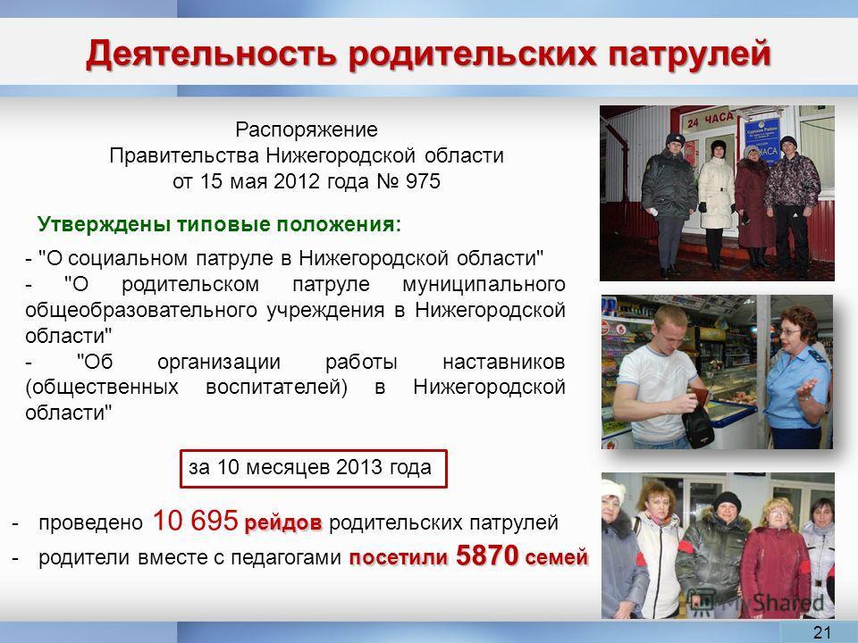Деятельность родительских патрулей 21 Распоряжение Правительства Нижегородской области от 15 мая 2012 года 975 -