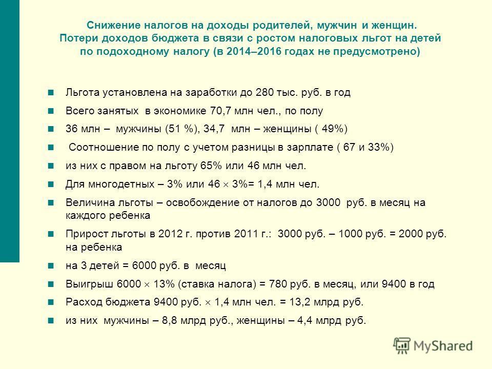 Снижение налогов на доходы родителей, мужчин и женщин. Потери доходов бюджета в связи с ростом налоговых льгот на детей по подоходному налогу (в 2014–2016 годах не предусмотрено) Льгота установлена на заработки до 280 тыс. руб. в год Всего занятых в