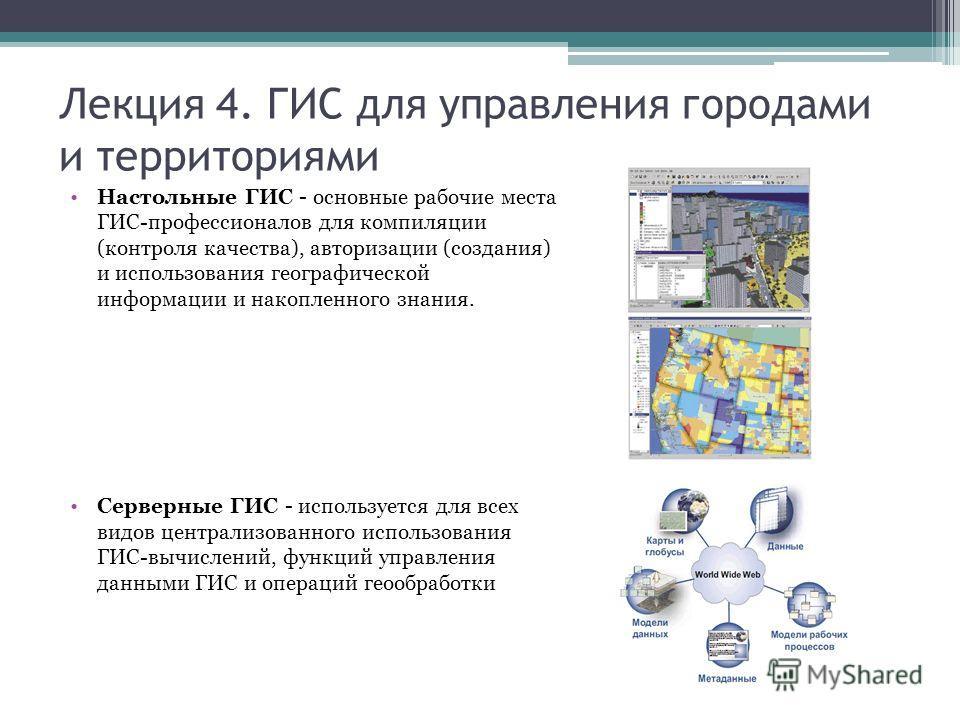Лекция 4. ГИС для управления городами и территориями Настольные ГИС - основные рабочие места ГИС-профессионалов для компиляции (контроля качества), авторизации (создания) и использования географической информации и накопленного знания. Серверные ГИС