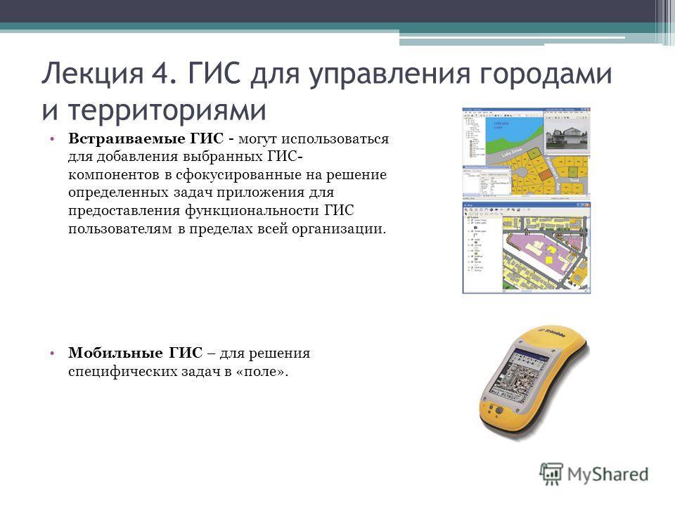 Лекция 4. ГИС для управления городами и территориями Встраиваемые ГИС - могут использоваться для добавления выбранных ГИС- компонентов в сфокусированные на решение определенных задач приложения для предоставления функциональности ГИС пользователям в