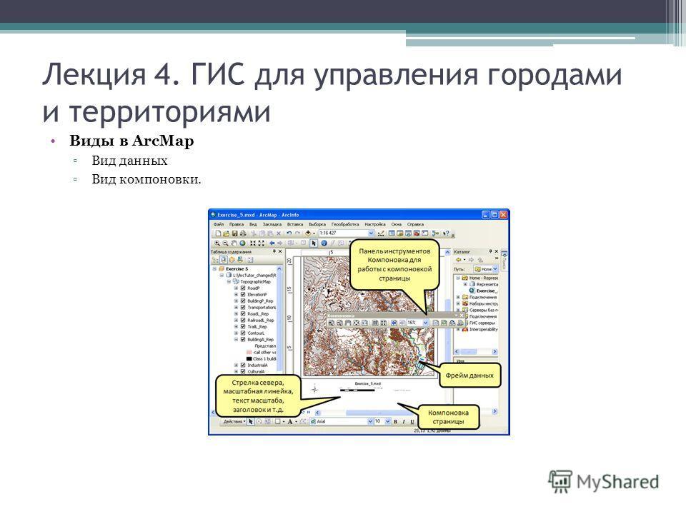Лекция 4. ГИС для управления городами и территориями Виды в ArcMap Вид данных Вид компоновки.