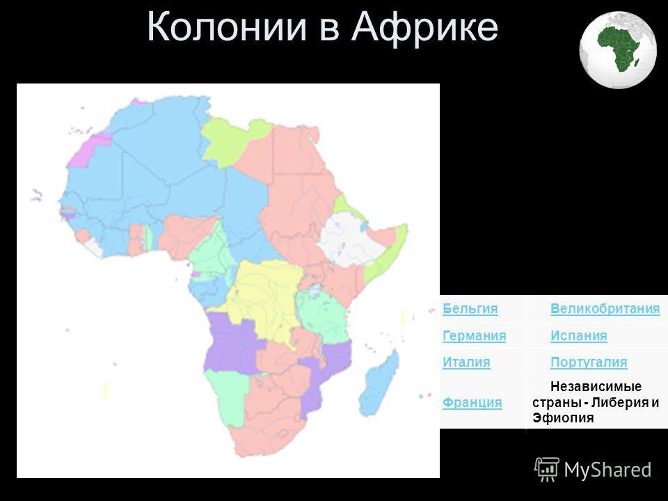 Колонии в Африке Бельгия Великобритания Германия Испания Италия Португалия Франция Независимые страны - Либерия и Эфиопия