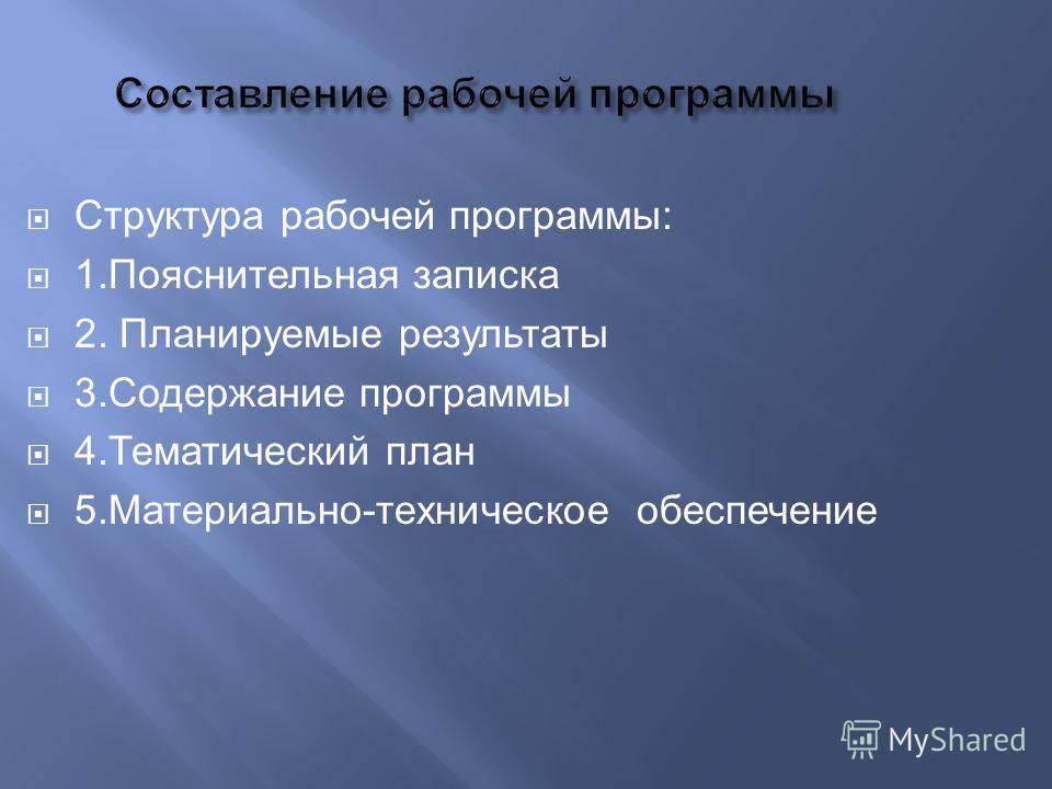 Структура рабочей программы: 1. Пояснительная записка 2. Планируемые результаты 3. Содержание программы 4. Тематический план 5.Материально-техническое обеспечение