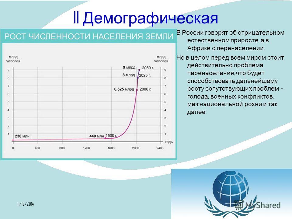 11/12/201418 II Демографическая В России говорят об отрицательном естественном приросте, а в Африке о перенаселении. Но в целом перед всем миром стоит действительно проблема перенаселения, что будет способствовать дальнейшему росту сопутствующих проб