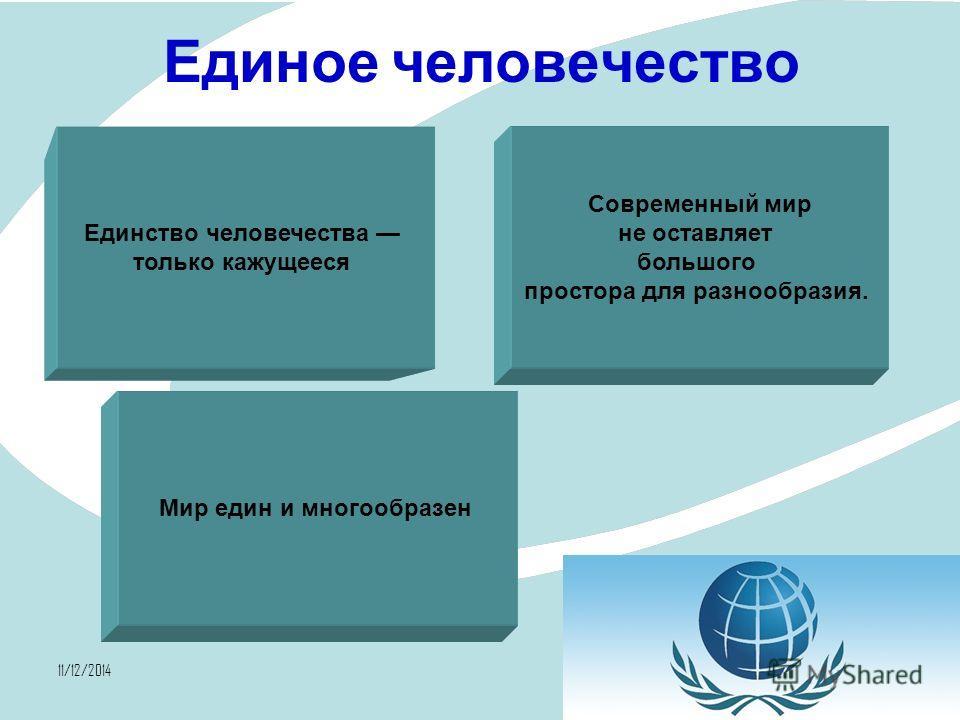 11/12/20147 Единое человечество Единство человечества только кажущееся Современный мир не оставляет большого простора для разнообразия. Мир един и многообразен