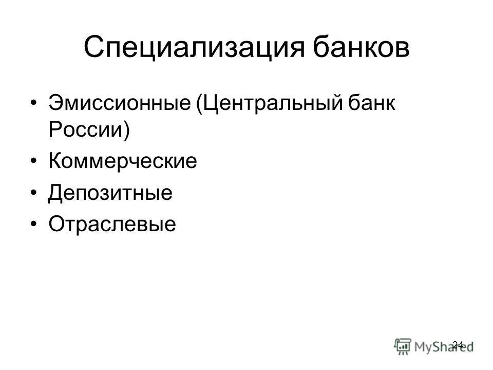 24 Специализация банков Эмиссионные (Центральный банк России) Коммерческие Депозитные Отраслевые