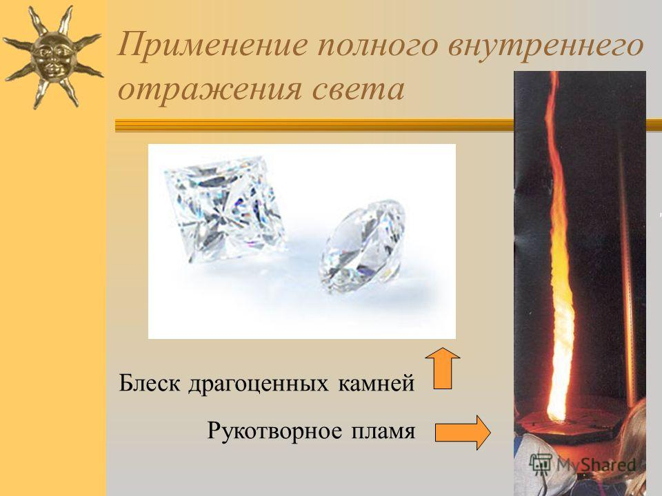 Применение полного внутреннего отражения света Блеск драгоценных камней Рукотворное пламя