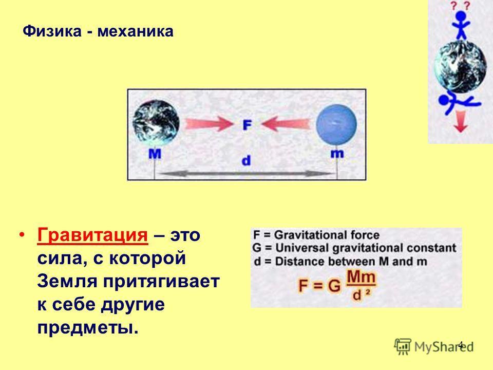 3 Падающее тело – это ничем не поддерживаемое тело, притягиваемое к поверхности Земли силой гравитации. Физика - механика Что такое закон свободного падения?