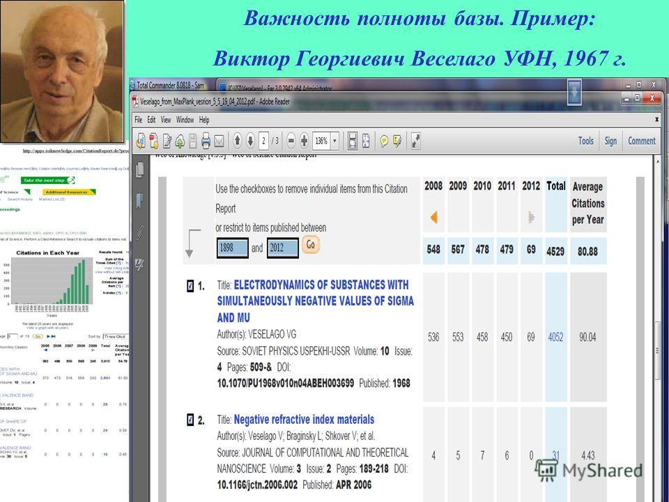 Важность полноты базы. Пример: Виктор Георгиевич Веселаго УФН, 1967 г.