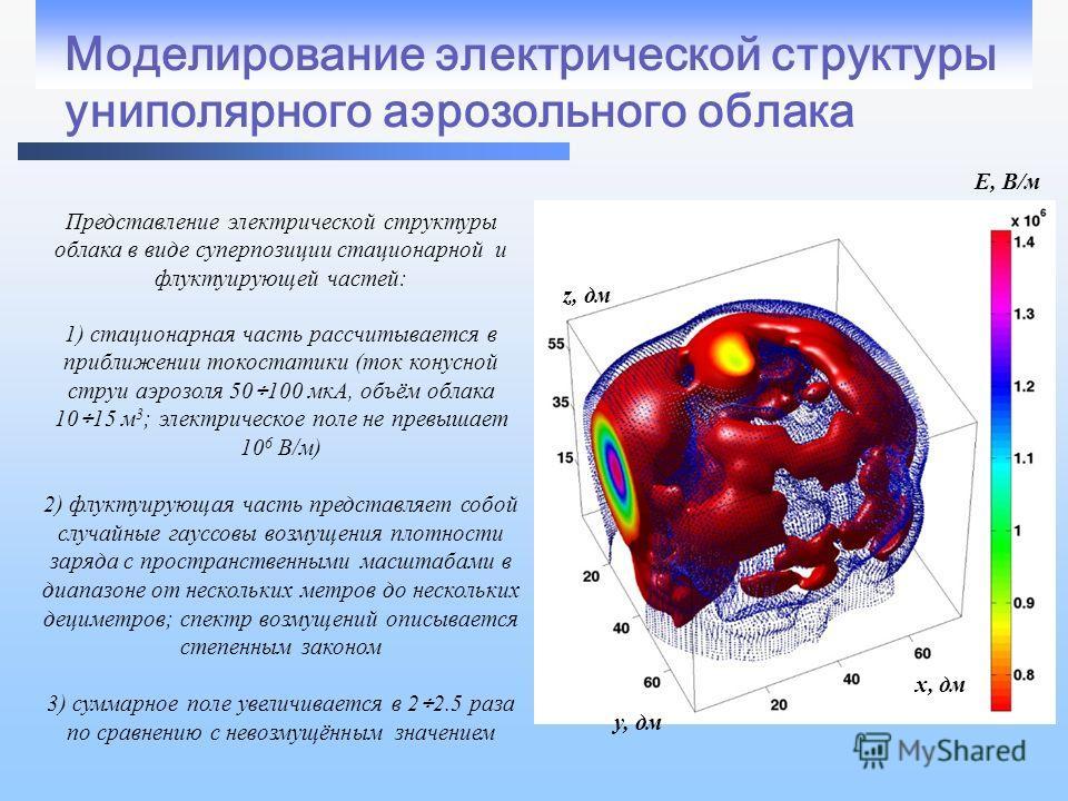 Моделирование электрической структуры униполярного аэрозольного облака Представление электрической структуры облака в виде суперпозиции стационарной и флуктуирующей частей: 1) стационарная часть рассчитывается в приближении токостатики (ток конусной