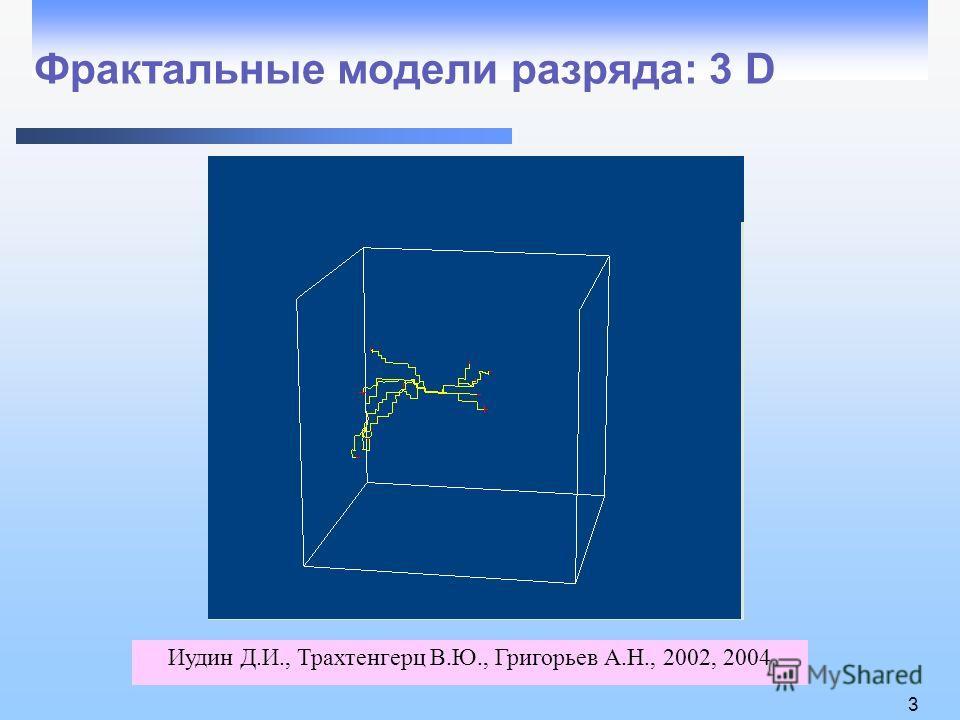 3 Фрактальные модели разряда: 3 D Иудин Д.И., Трахтенгерц В.Ю., Григорьев А.Н., 2002, 2004