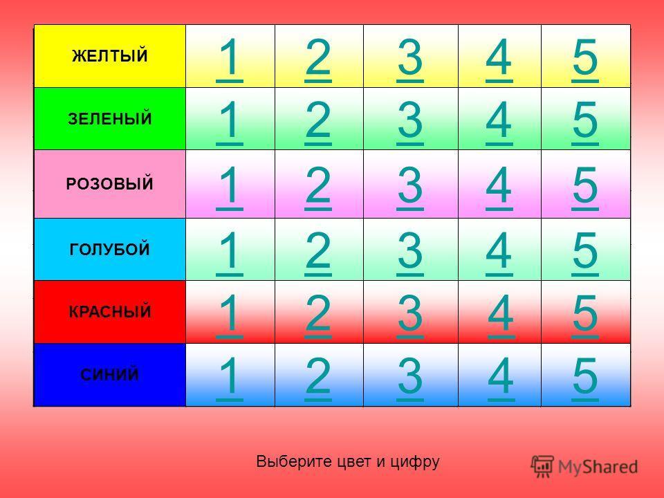 ЖЕЛТЫЙ ЗЕЛЕНЫЙ РОЗОВЫЙ КРАСНЫЙ СИНИЙ ГОЛУБОЙ 12345 112345 12345 12345 12345 12345 Выберите цвет и цифру