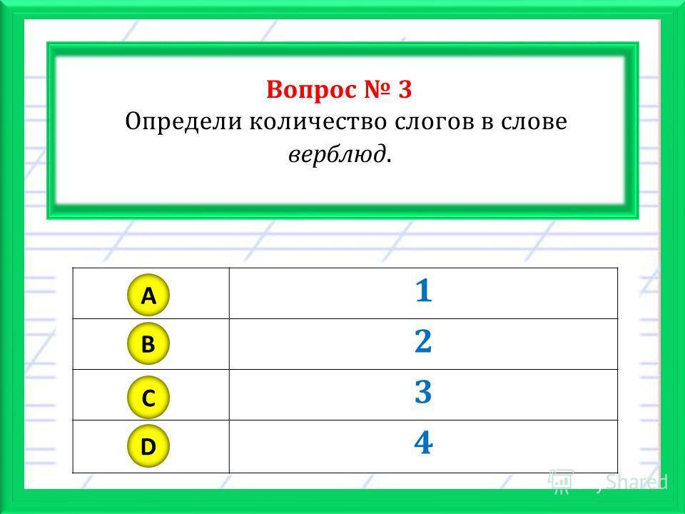 Вопрос 3 Определи количество слогов в слове верблюд. 1 2 3 4 A B C D