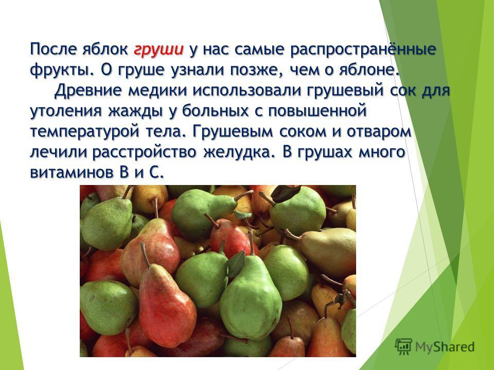 После яблок груши у нас самые распространённые фрукты. О груше узнали позже, чем о яблоне. Древние медики использовали грушевый сок для утоления жажды у больных с повышенной температурой тела. Грушевым соком и отваром лечили расстройство желудка. В г