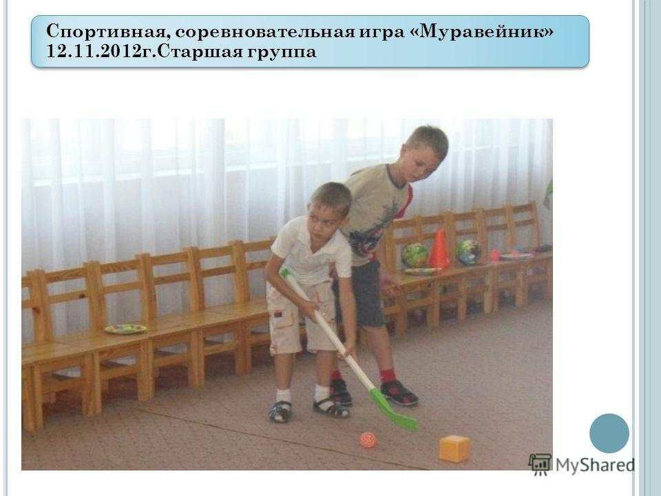 Спортивная, соревновательная игра «Муравейник» 12.11.2012 г.Старшая группа