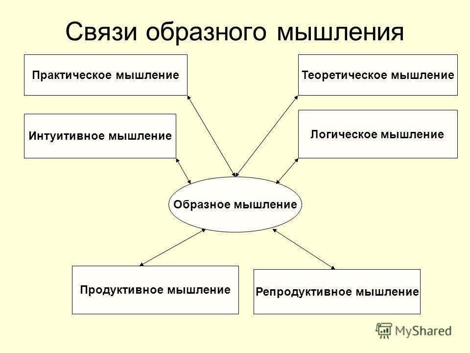 Связи образного мышления Образное мышление Репродуктивное мышление Логическое мышление Продуктивное мышление Практическое мышление Интуитивное мышление Теоретическое мышление