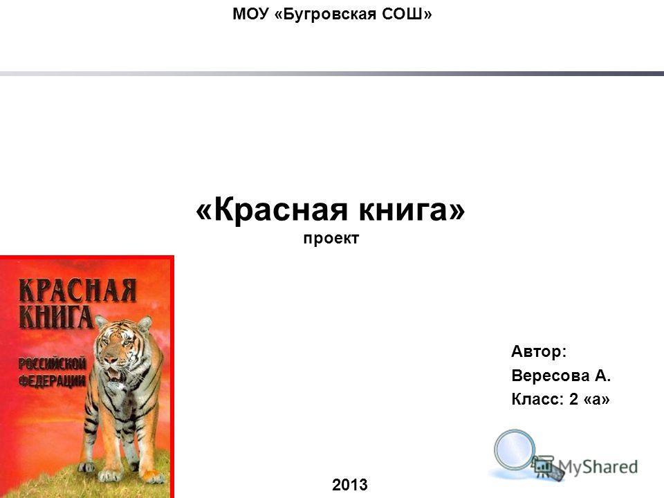 МОУ «Бугровская СОШ» 2013 «Красная книга» проект Автор: Вересова А. Класс: 2 «а»