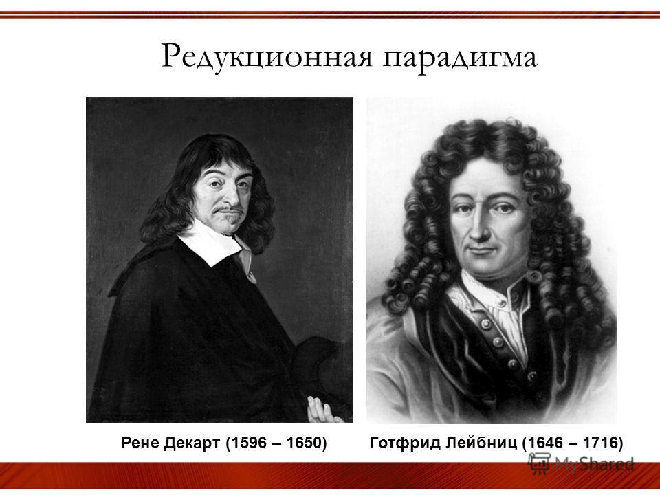 Редукционная парадигма Рене Декарт (1596 – 1650) Готфрид Лейбниц (1646 – 1716)