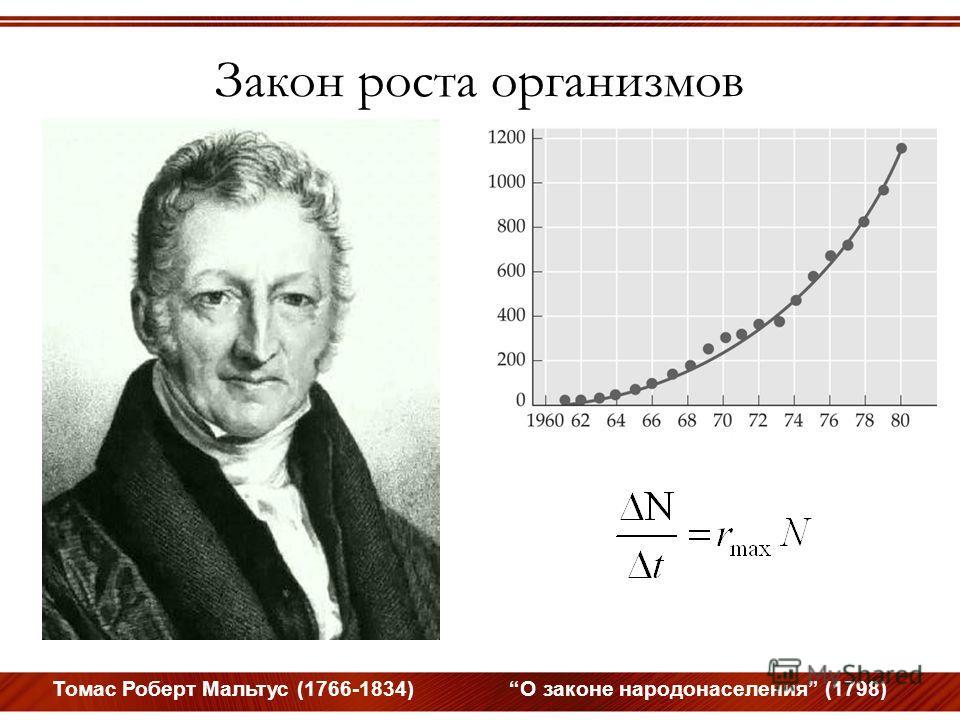 Закон роста организмов Томас Роберт Мальтус (1766-1834) О законе народонаселения (1798)