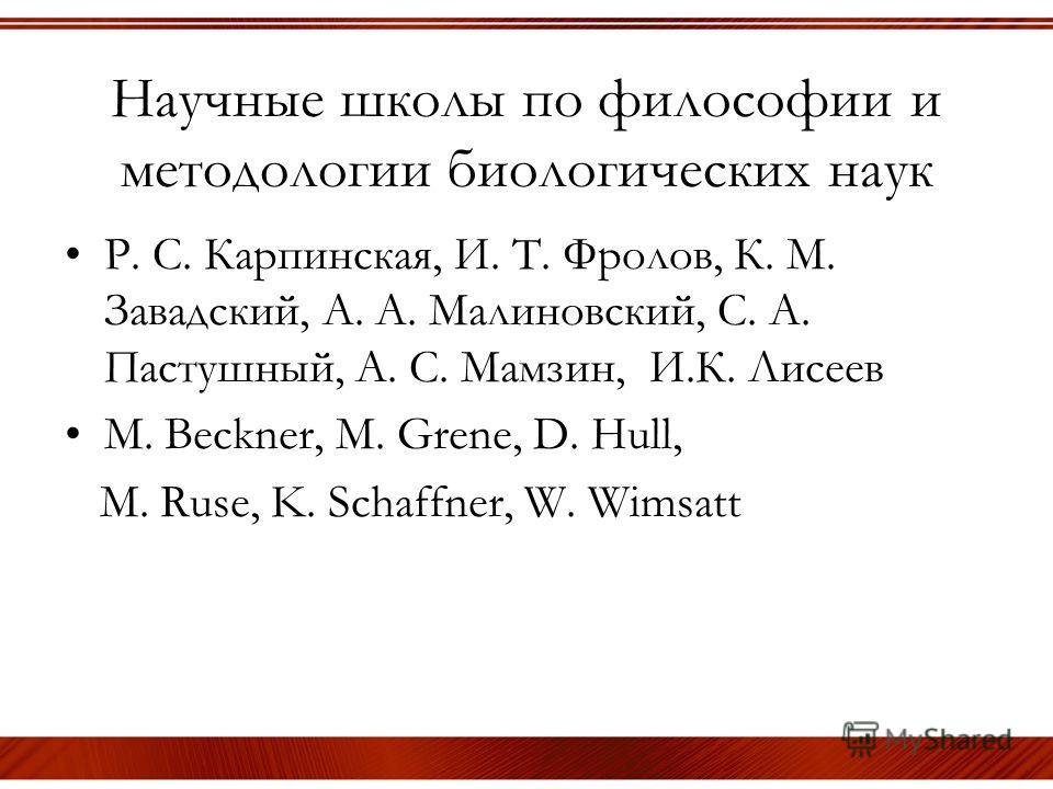 Научные школы по философии и методологии биологических наук Р. С. Карпинская, И. Т. Фролов, К. М. Завадский, А. А. Малиновский, С. А. Пастушный, А. С. Мамзин, И.К. Лисеев M. Beckner, M. Grene, D. Hull, M. Ruse, K. Schaffner, W. Wimsatt