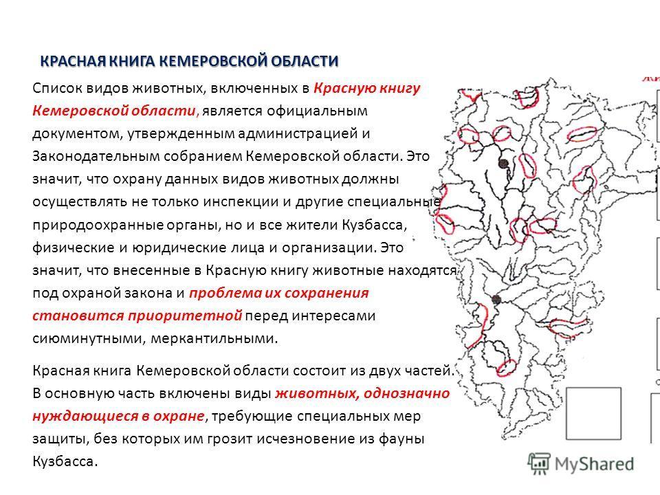 КРАСНАЯ КНИГА КЕМЕРОВСКОЙ ОБЛАСТИ Список видов животных, включенных в Красную книгу Кемеровской области, является официальным документом, утвержденным администрацией и Законодательным собранием Кемеровской области. Это значит, что охрану данных видов