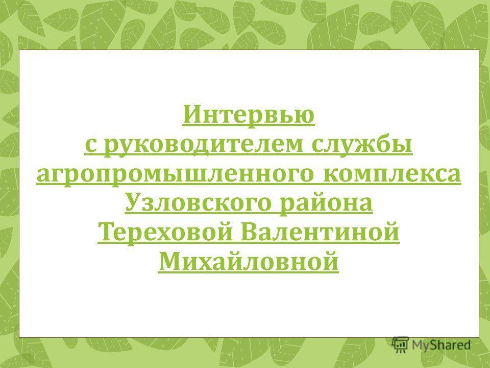 Интервью с руководителем службы агропромышленного комплекса Узловского района Тереховой Валентиной Михайловной