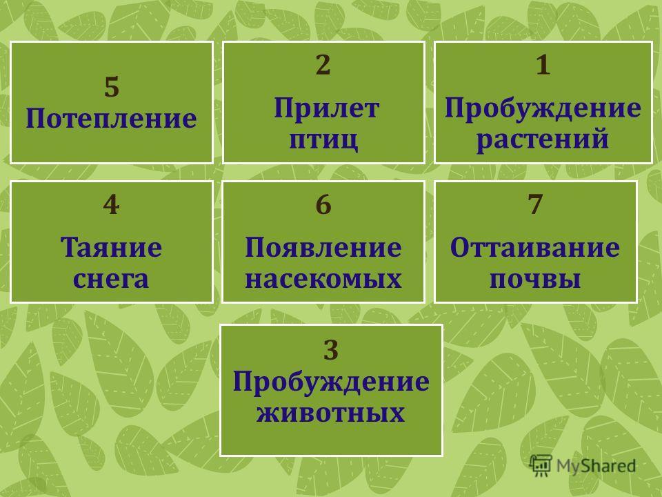 5 Потепление 2 Прилет птиц 1 Пробуждение растений 4 Таяние снега 6 Появление насекомых 7 Оттаивание почвы 3 Пробуждение животных