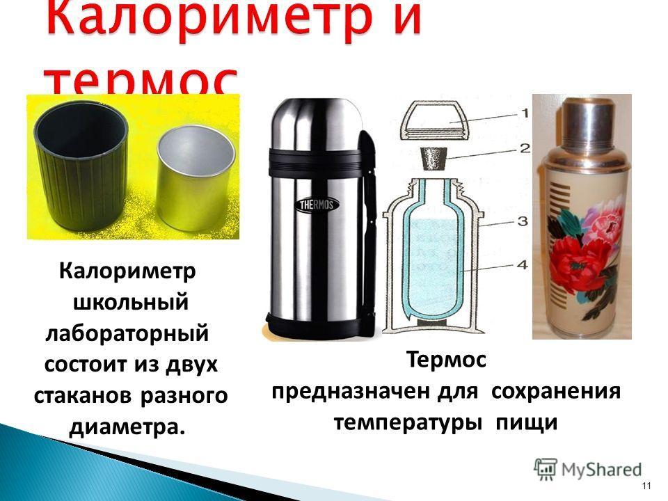 11 Калориметр школьный лабораторный состоит из двух стаканов разного диаметра. Термос предназначен для сохранения температуры пищи