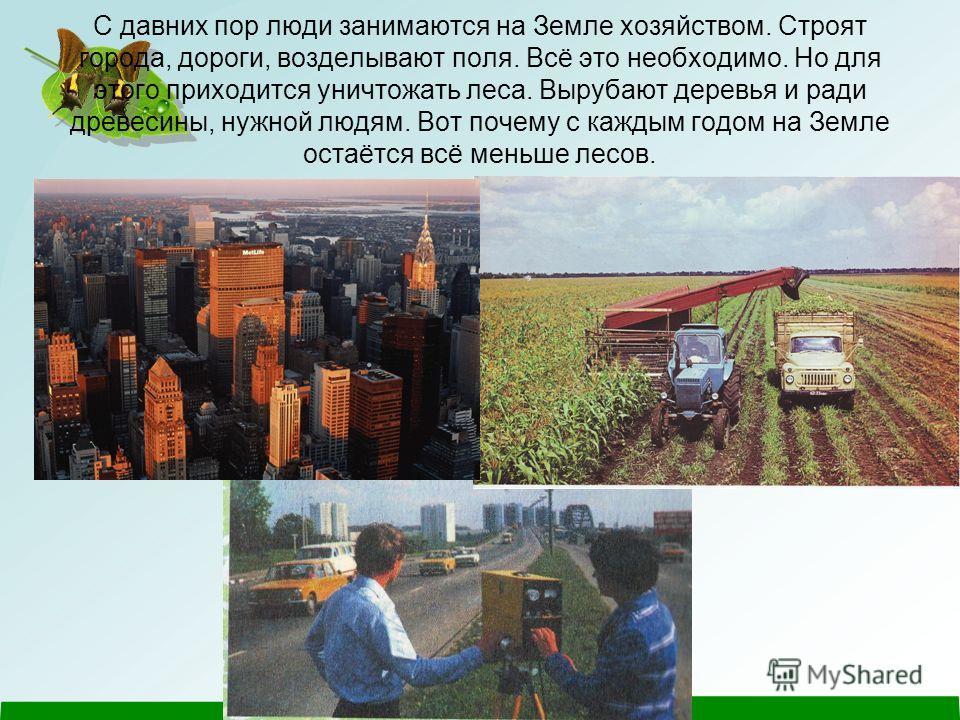 С давних пор люди занимаются на Земле хозяйством. Строят города, дороги, возделывают поля. Всё это необходимо. Но для этого приходится уничтожать леса. Вырубают деревья и ради древесины, нужной людям. Вот почему с каждым годом на Земле остаётся всё м