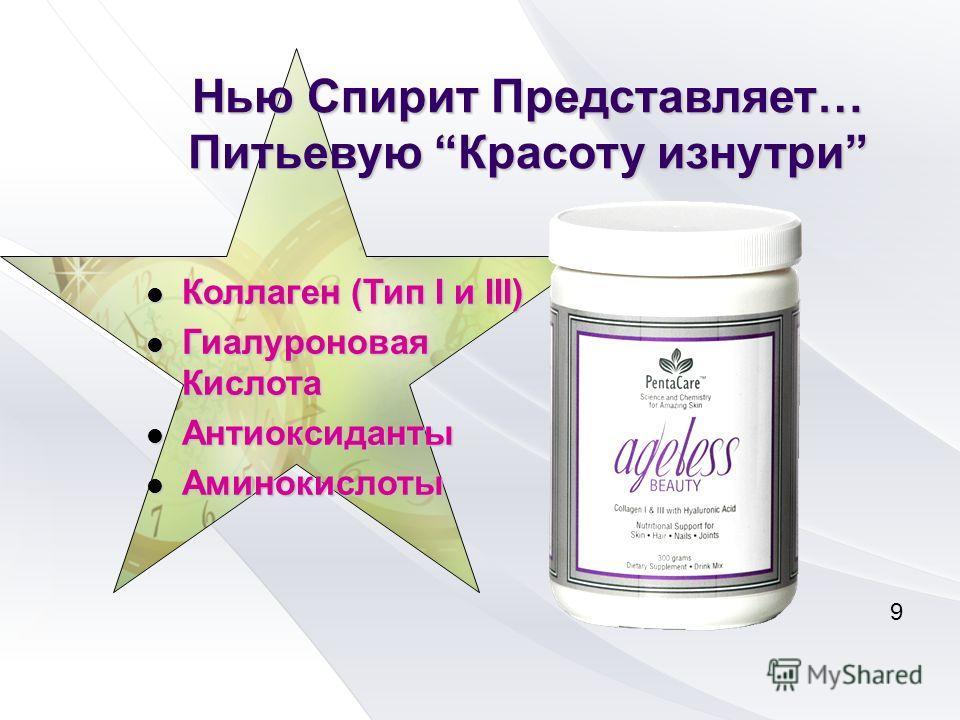 Нью Спирит Представляет… Питьевую Красоту изнутри Коллаген (Тип I и III) Коллаген (Тип I и III) Гиалуроновая Кислота Гиалуроновая Кислота Антиоксиданты Антиоксиданты Аминокислоты Аминокислоты 9