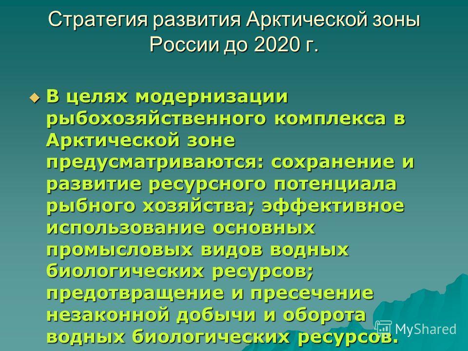 Стратегия развития Арктической зоны России до 2020 г. В целях модернизации рыбохозяйственного комплекса в Арктической зоне предусматриваются: сохранение и развитие ресурсного потенциала рыбного хозяйства; эффективное использование основных промысловы