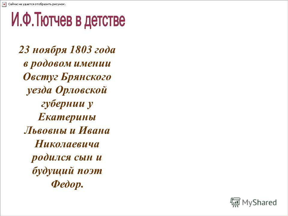23 ноября 1803 года в родовом имении Овстуг Брянского уезда Орловской губернии у Екатерины Львовны и Ивана Николаевича родился сын и будущий поэт Федор.