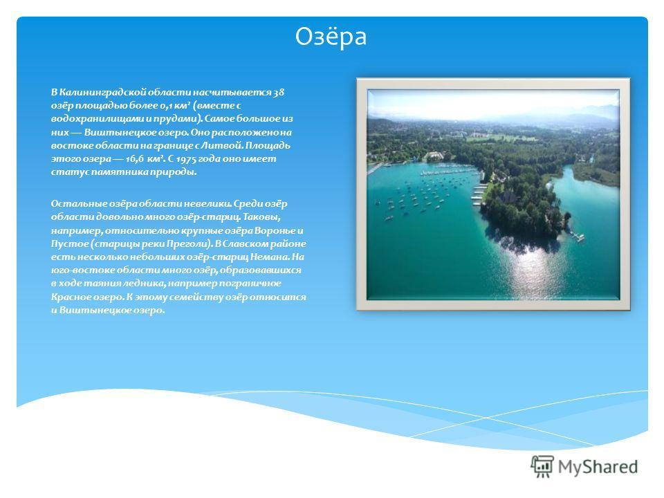 Озёра В Калининградской области насчитывается 38 озёр площадью более 0,1 км² (вместе с водохранилищами и прудами). Самое большое из них Виштынецкое озеро. Оно расположено на востоке области на границе с Литвой. Площадь этого озера 16,6 км². С 1975 го
