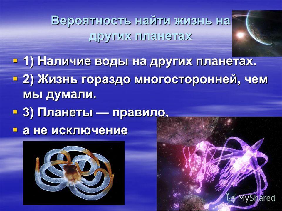Вероятность найти жизнь на других планетах 1) Наличие воды на других планетах. 1) Наличие воды на других планетах. 2) Жизнь гораздо многосторонней, чем мы думали. 2) Жизнь гораздо многосторонней, чем мы думали. 3) Планеты правило, 3) Планеты правило,