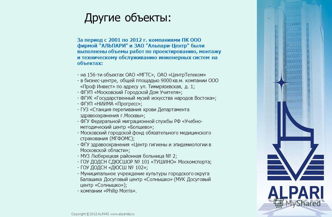 Copyright © 2012 ALPARI www.alparisb.ru Другие объекты: За период с 2001 по 2012 г. компаниями ПК ООО фирмой
