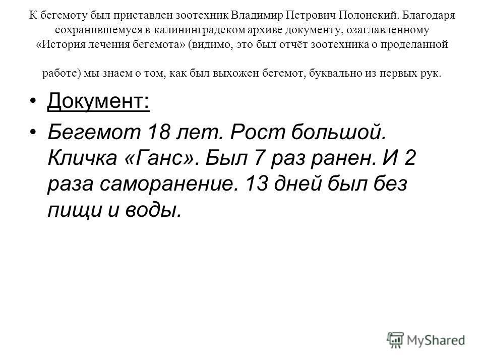 К бегемоту был приставлен зоотехник Владимир Петрович Полонский. Благодаря сохранившемуся в калининградском архиве документу, озаглавленному «История лечения бегемота» (видимо, это был отчёт зоотехника о проделанной работе) мы знаем о том, как был вы