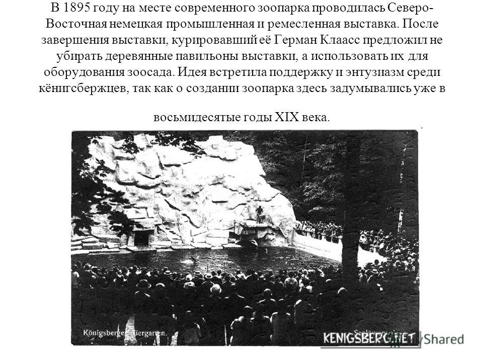 В 1895 году на месте современного зоопарка проводилась Северо- Восточная немецкая промышленная и ремесленная выставка. После завершения выставки, курировавший её Герман Клаасс предложил не убирать деревянные павильоны выставки, а использовать их для