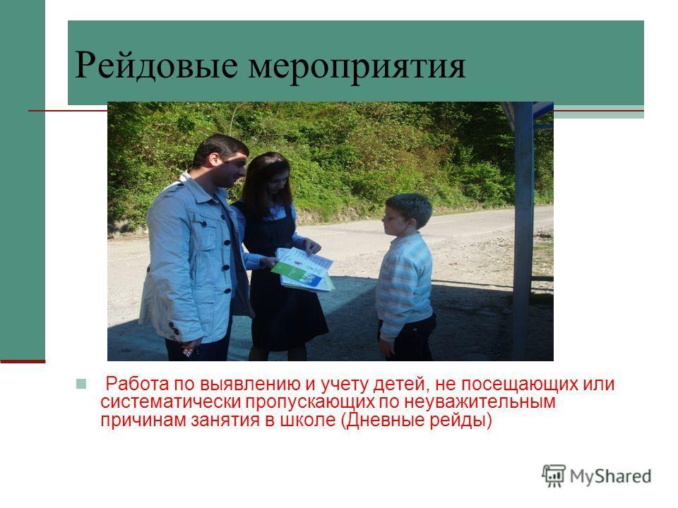 Рейдовые мероприятия Работа по выявлению и учету детей, не посещающих или систематически пропускающих по неуважительным причинам занятия в школе (Дневные рейды)