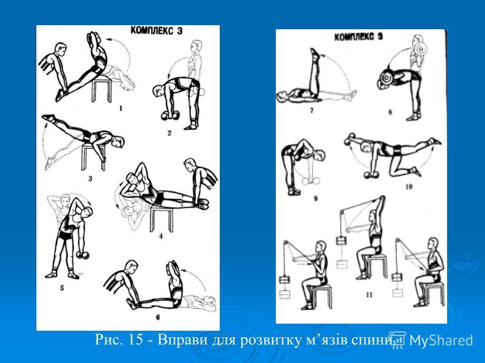 Рис. 15 - Вправи для розвитку мязів спини.