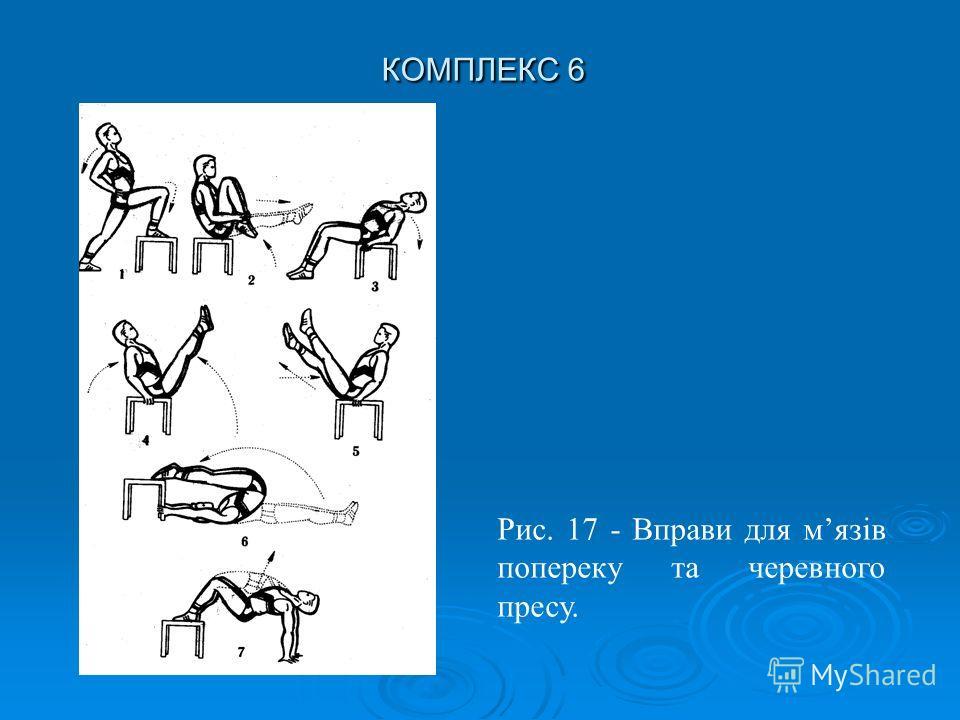 КОМПЛЕКС 6 Рис. 17 - Вправи для мязів попереку та черевного пресу.