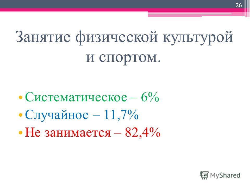 Занятие физической культурой и спортом. Систематическое – 6% Случайное – 11,7% Не занимается – 82,4% 26