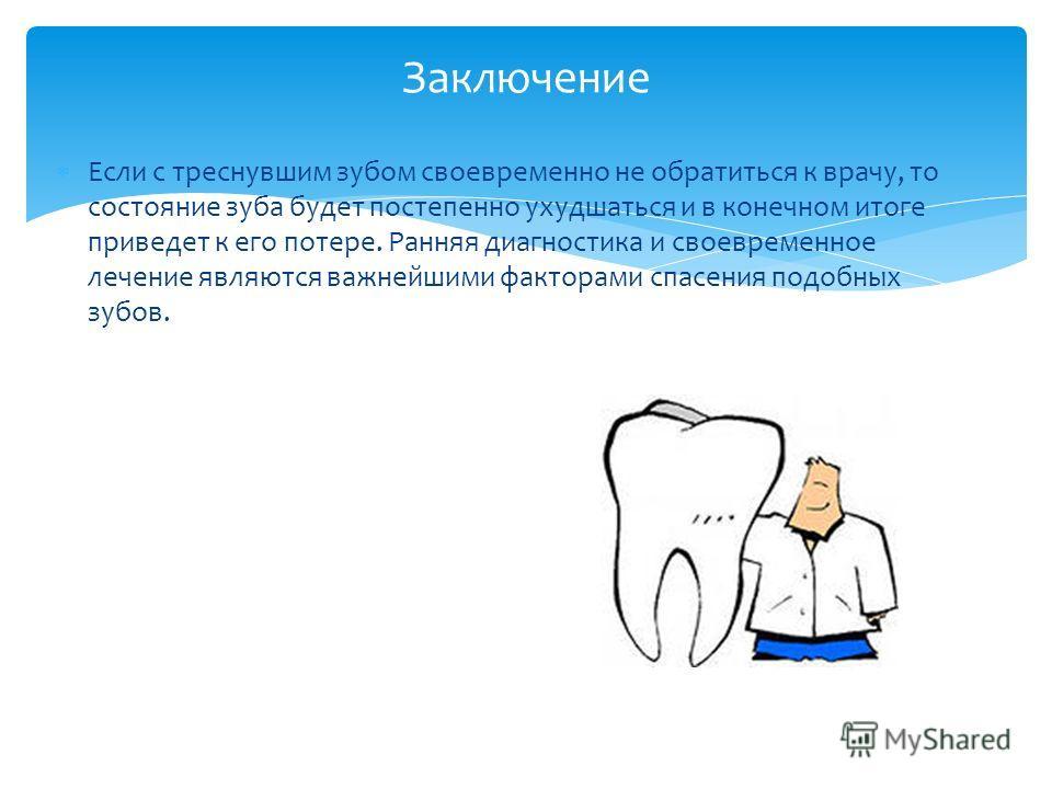 Если с треснувшим зубом своевременно не обратиться к врачу, то состояние зуба будет постепенно ухудшаться и в конечном итоге приведет к его потере. Ранняя диагностика и своевременное лечение являются важнейшими факторами спасения подобных зубов. Закл